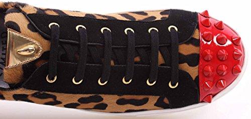 Botticelli Damen Schuhe Sneakers Roberto Limited Pony Leopard Oro Made Ita Neu
