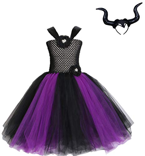 ugoccam Girls Black Witch Tulle Dress Sleeveless Princess Dress]()