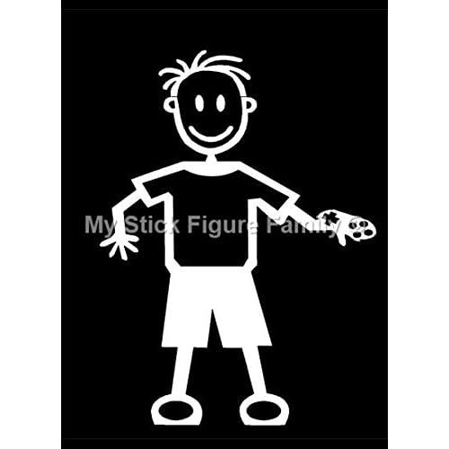 my stick figure family sticker famille autocollant voiture petit gar on avec manette de jeux. Black Bedroom Furniture Sets. Home Design Ideas