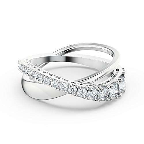 SWAROVSKI Women's Twist Intertwined Bands White Rhodium Plated Crystal Ring Collection