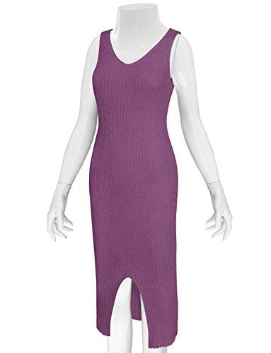 Tam Articles De La Femme Robe Midi Sans Manches À Fente Avant Moulante En Tricot Violet