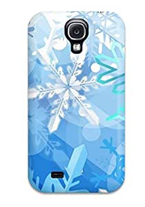 Awesome Awesome Blue Snowflake Christmas Flip Case With Fashion Design For Galaxy S4