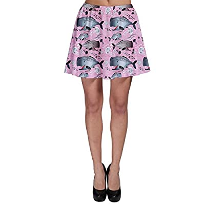 CowCow Purple Graphic Pattern of Whales and Jellyfish on A Pink Skater Skirt