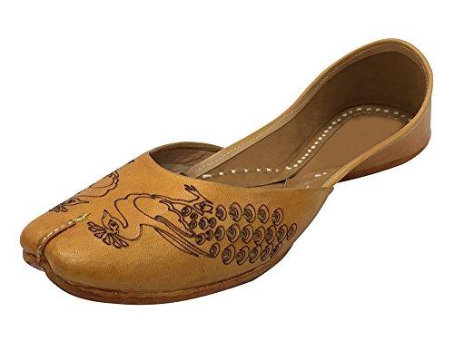Étape N Style Femmes Casual Plaine Ballet Confort Chaussures Plates Paon Artwork Khussa Mojari