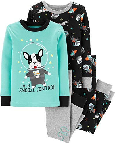 Carter's Toddler Boy's 4 Piece Pajama Cotton Set, Space Frenchie, 4T