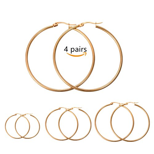 Calors Vitton 4 Pairs a Set Stainless Steel Large Hoop Earrings for Women 30-60mm Gold