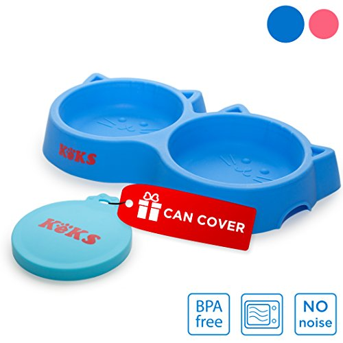 Water Dish Set (Cat Bowls Set of Silicone Food & Water Blue Bowls for Cats, Small Pet Dish, Kitten Feeder, Cat Feeding Bowl & Pets Food Can Cover)