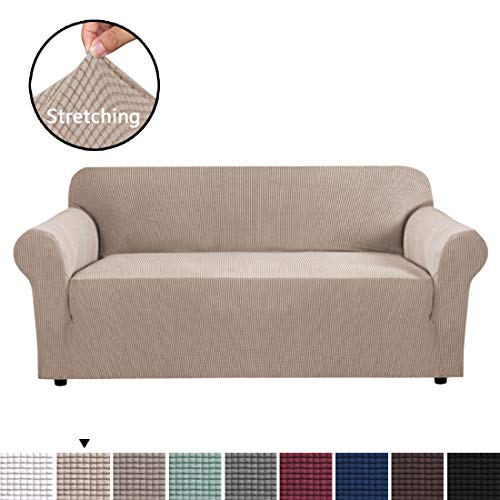 H.VERSAILTEX Modern Spandex 1 Piece Sofa Cover Lycra Jacquard High Stretch Sofa Slipcover Stylish Furniture Cover/Protector Sofa Cover for 3 Cushion Couch Machine Washable - Sofa - Sand