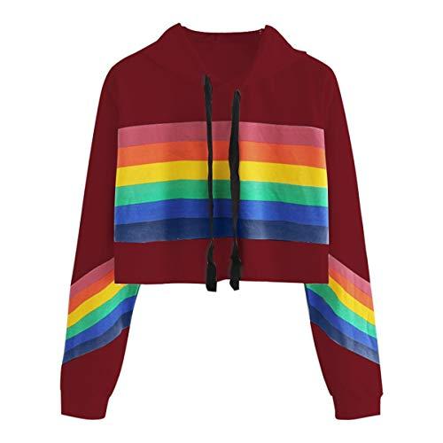 [해외]Thenxin Women`s Stylish Rainbow Print Crop Top Hoodies Sweatshirt Drawstring Long Sleeve Pullover / Thenxin Women`s Stylish Rainbow Print Crop Top Hoodies Sweatshirt Drawstring Long Sleeve Pullover(Wine,M)
