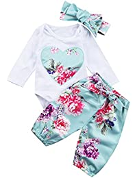 Newborn Baby Girls Floral Heart Peach Print Romper Long Pants Bowknot Headband Outfit Set