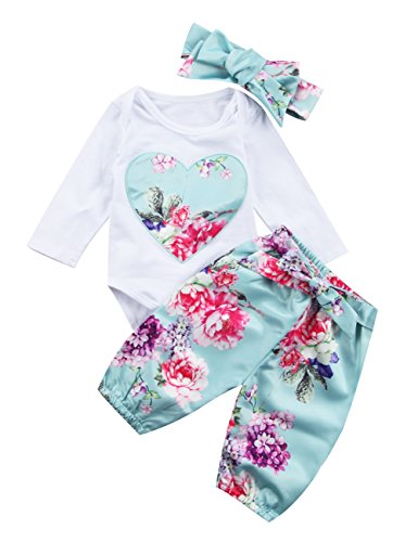 Newborn Baby Girls Floral Heart Peach Print Romper Long Pants With Bowknot Headband Outfit Set (0-6 Months)