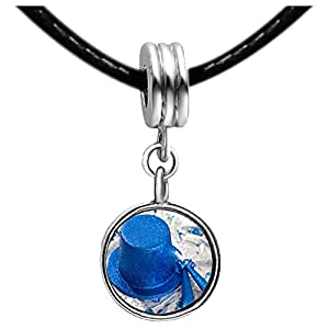 Chicforest Silver Plated Blue jazz hat Photo Peridot Crystal August Birthstone Flower dangle Charm Beads Fits Pandora Charm Bracelet