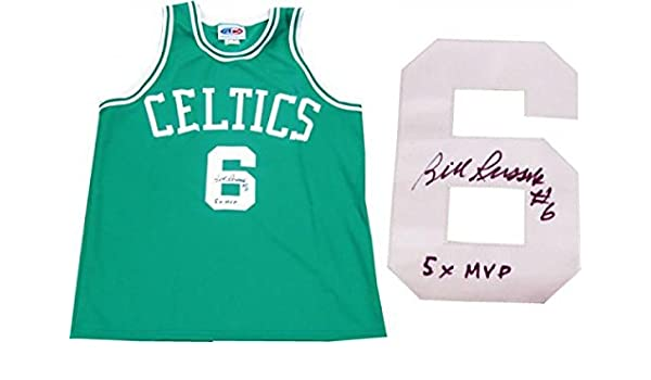 new product 09436 d49c1 Signed Bill Russell Jersey - 5x MVP Green - Autographed NBA ...