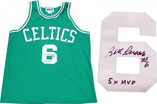 Signed Bill Russell Jersey - 5x MVP Green - Autographed NBA ()