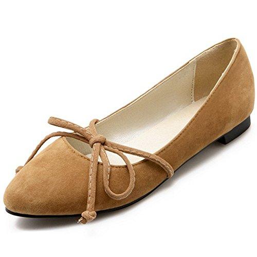 Coolcept Dames Platte Pumps Suède Mary Janes Balletschoenen Geel