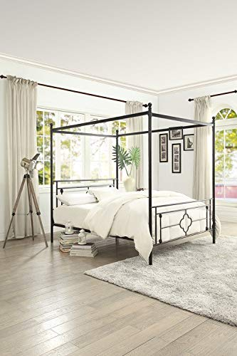 Amazon.com: Homelegance 1758T-1 Hosta Metal Canopy Twin Bed, Black ...