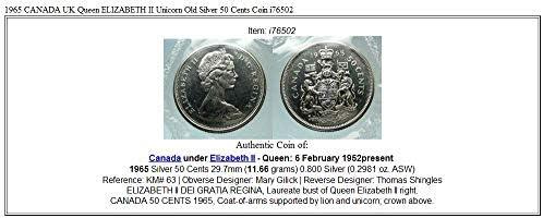 1965 CA 1965 CANADA UK Queen ELIZABETH II Unicorn Old AR