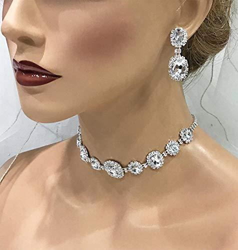 Amazon.com: Wedding Bridal Choker Necklace Earrings Crystal