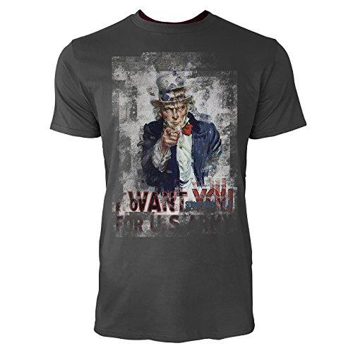 SINUS ART® I Want You For US Army Herren T-Shirts stilvolles rauch graues Fun Shirt mit tollen Aufdruck