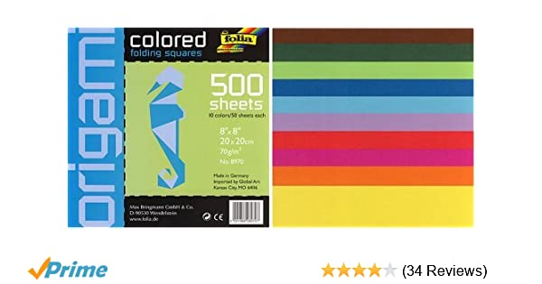 Amazon Square Colored 8 By Inch Origami Paper 500 Sheets