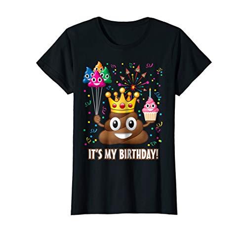 Womens Its My Birthday Poop Emoji T-Shirt Small Black