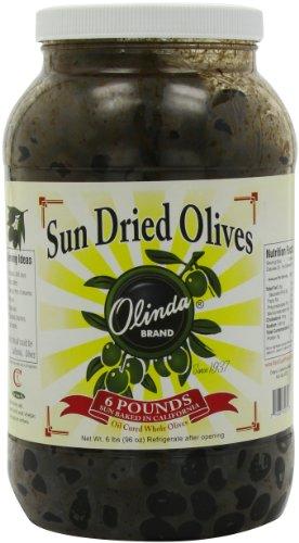 Olinda Extra Large Whole Sun-Dried Olives, Black, 6 Pound