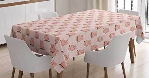 (Lunarable Owl Lover Tablecloth, Repetitive Pattern with Smiling Bird on a Twig Branch, Dining Room Kitchen Rectangular Table Cover, 60