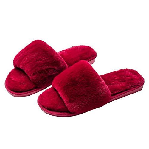 Una In Peluche Rosso Per Spesse Velluto Pantofole Più Casa Calde Cotone Premewish Trascinano Parola Con Morbide La qYFtTCw