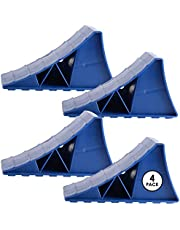 Toiles VR - 4 Pack Wheel Chocks (Blue) - Heavy Duty Plastic Surface Leveler for RV, Trailer Camping Accessories - Easy to Use Car Tire Stopper, Securely Blocks Vehicles Movement