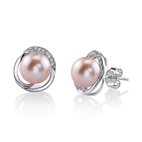 THE PEARL SOURCE 8-9mm Genuine Pink Freshwater Cultured Pearl & Cubic Zirconia Johnson Earrings for Women