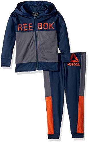 Reebok Boys' Toddler' Color Block Tricot Hooded Jacket and Jog Pant, Bright Navy, 3T