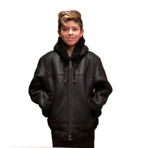 Kids B-3 Genuine Shearling Leather Bomber Jacket Winter Aviator Coat (12, Black)