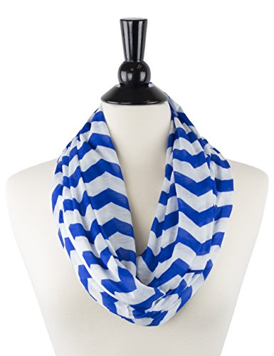Womens Chevron Print Pattern Infinity Scarf Wrap with Zipper Pocket, Blue and White, Best Travel Infinity Scarves for Women, Girls, (Ladies Business Scarf)