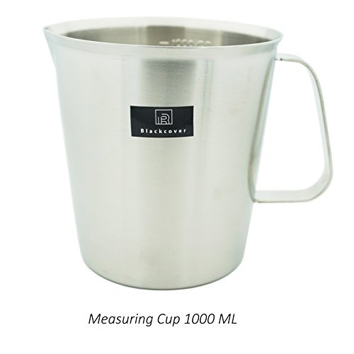 Stainless Steel Steaming Pitcher (Blackcover Measuring Cup, Thickened Stainless Steel Measuring Beaker/Steaming Frothing Pitcher with Handle for Bake (32OZ (1000ml)))