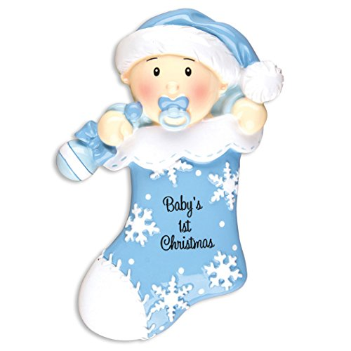 Personalized Baby's 1st Christmas Stocking Tree Ornament 2019 - Boy in Hat with Pacifier and Favorite Toy Snowflake Sock First New Mom Shower Gift Grand-Son Year - Free Customization (Blue)