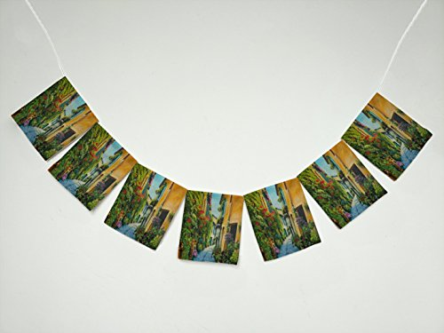 Art Oil-Painting Flower Street in Italy 38 Picture Banner Bunting Garland Flag Sign for Home Family Party Decoration