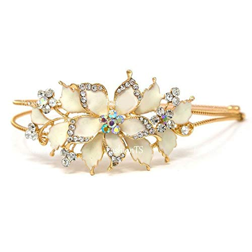 Crystal Gold Tone Metal - New cream Crystal Rhinestone gold tone metal big Flower design Headband #121