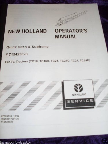 NewHolland Quick Hitch & Subframe OEM OEM Owners Manual
