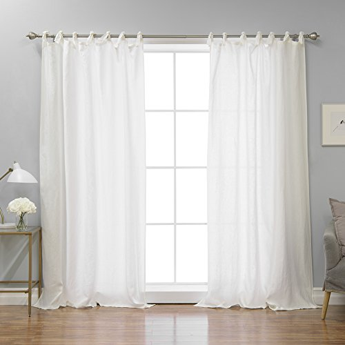 Abelia Belgian Flax Linen Romantic Tie Top Curtain - Tie Top - 52