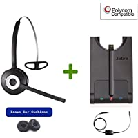 Polycom Compatible Jabra PRO 920 Wireless Headset Bundle with EHS Cord |SoundPoint IP Phones: 335, 430, 450, 550, 560, 650, 670, VVX101, VVX201, VVX300, VVX310, VVX400, VVX410, VVX500, VVX600, VVX1500