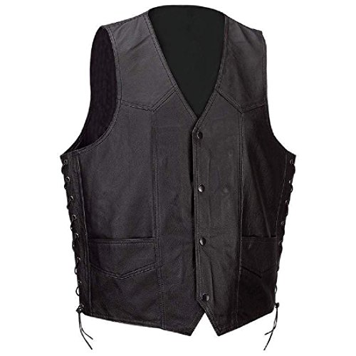 Mens Black Solid Leather Classic Motorcycle Vest + Lacing