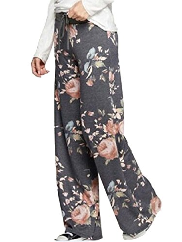iChunhua Women's Comfy Stretch Floral Print Drawstring Palazzo Wide Leg Lounge Pants(M,Dark Grey)