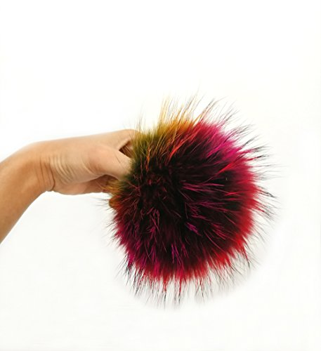 "5"" Real Raccoon Fur Pom Pom with Button for Knitted Fur Hat Beanie Hats - Chain Hat And Ball"