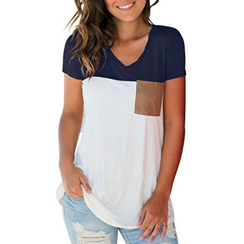 iOPQO Women Casual Short V Neck Color Block top Suede Pocket T Shirt top