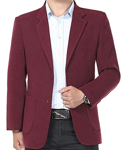 Mens Casual Business Solid Winter Two Button Dress Blazer Jacket Sport Coat,US-2XL,Red