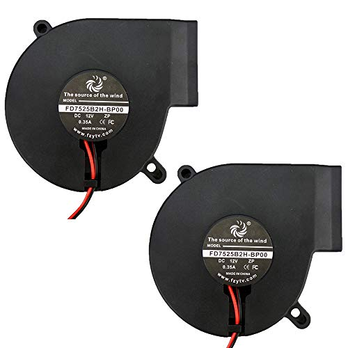 FZVAN 75mm 2Packs DC 12V 5V 75X75X25mm Turbine Small Centrifugal Blower Fan for Humidifier Cooling 2 pin for Inflatable -
