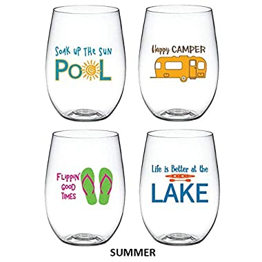 4-pack Designer Shatterproof BPA Free Plastic 16 ounce Stemless Wine Glass (SUMMER)