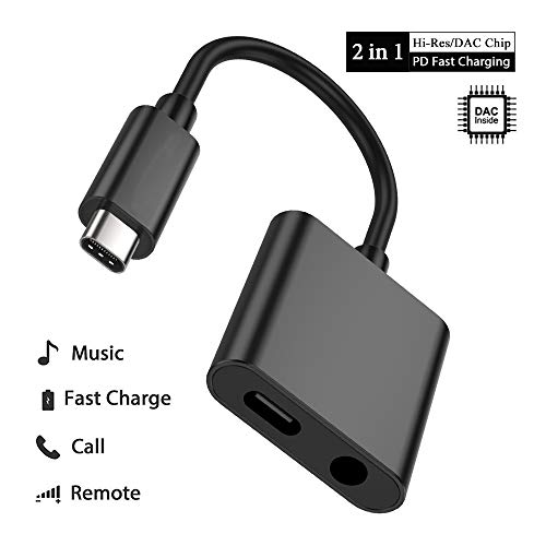 USB C to 3.5mm Audio Adapter, PHADEN 2 in 1 USB Type C Male to 3.5mm Female Stereo Earphone Converter Dongle and Charging Adapter for Google Pixel 2/2 XL, HTC U11 and More Type C Devices (Black)