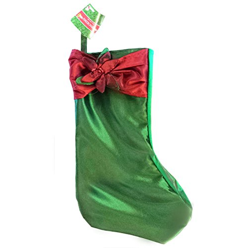 On Sale Satin and Felt Poinsettia Christmas Stocking Green or Read - Black Friday Closeout Special - Limited Qantities available (Poinsettia Felt)