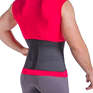 BraceAbility Elastic & Neoprene Back Support Brace   Compression Belt for Low Back Aches & Chronic Pain with Waist Trimming Ab Cincher Tension Straps (XL)